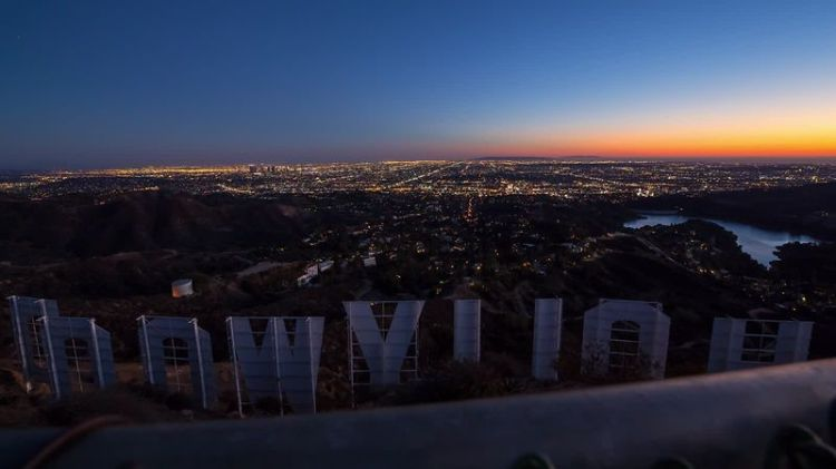Tinsel town from behind the Hollywood sign. Photo credit: store.chrispzero.com