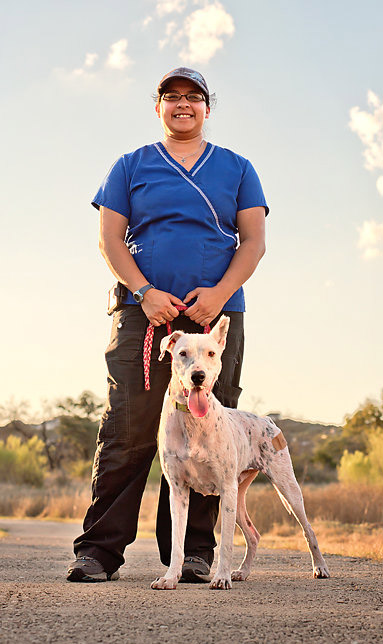 Sunshine and her devoted caretaker and foster mom, Jennifer Rodriguez. Photo credit: Corazon Photography