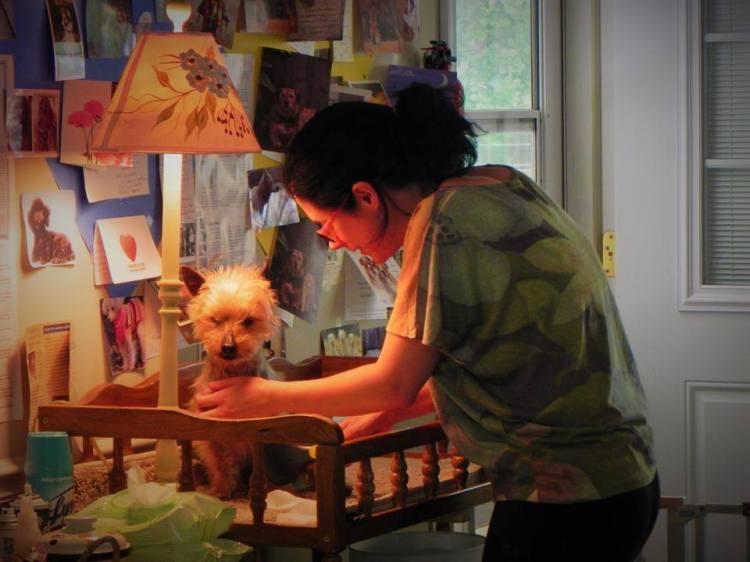 Volunteer Coordinator Martine grooming Peanut